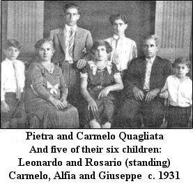 Pietrina & Carmelo Quagliata and children Leonardo, Rosario, Carmelo, Alfia and Giuseppe  c.1931