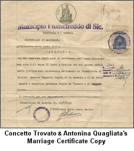 Concetto and Antonina Trovato's Marriage Certificate Copy.