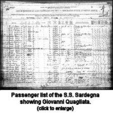 S.S. Sardegna passenger list showing Giovanni Quagliata, 1904.