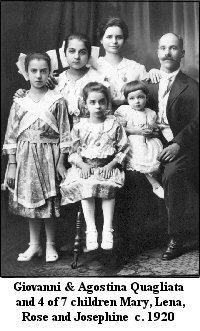Giovanni & Agostina Quagliata & 4 of 7 children - Mary, Lena, Rose and Josephine  c. 1920