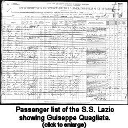 Passenger list of the S.S. Lazio showing Guiseppe Quagliata, 1906.