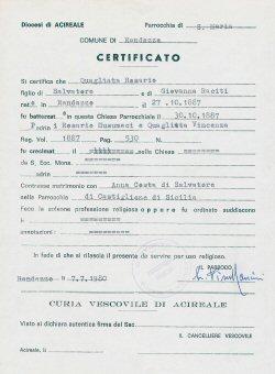 Rosario Quagliata's Birth Certificate Copy