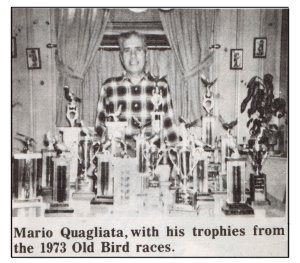 Mario Quagliata and his 1973 pigeon trophies.